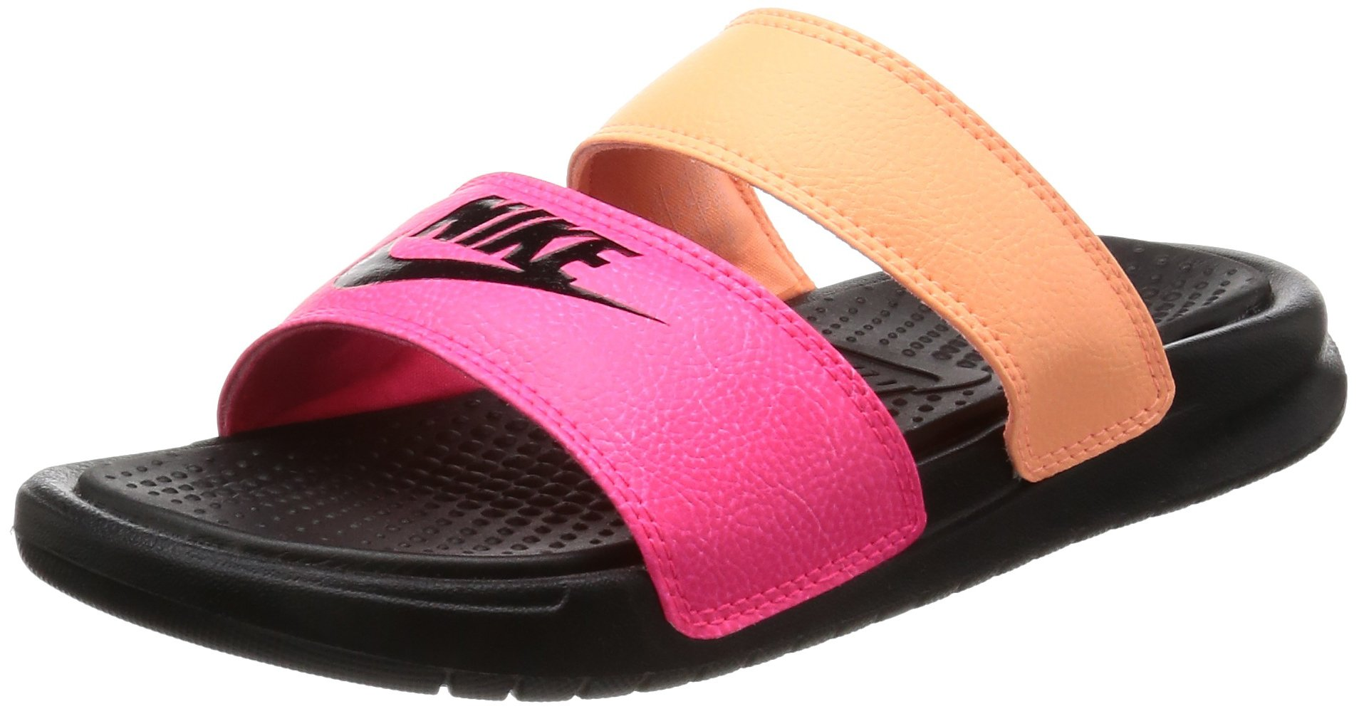 8a9fc6c4f Galleon - Nike Womens Benassi Duo Ultra Slide Snadals Racer  Pink Black Sunset Glow 819717-602 (8 B(M) US)