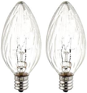GE Lighting Soft White 48395 15-Watt, 105-Lumen Flame Tip Light Bulb with Candelabra Base, 2-Pack