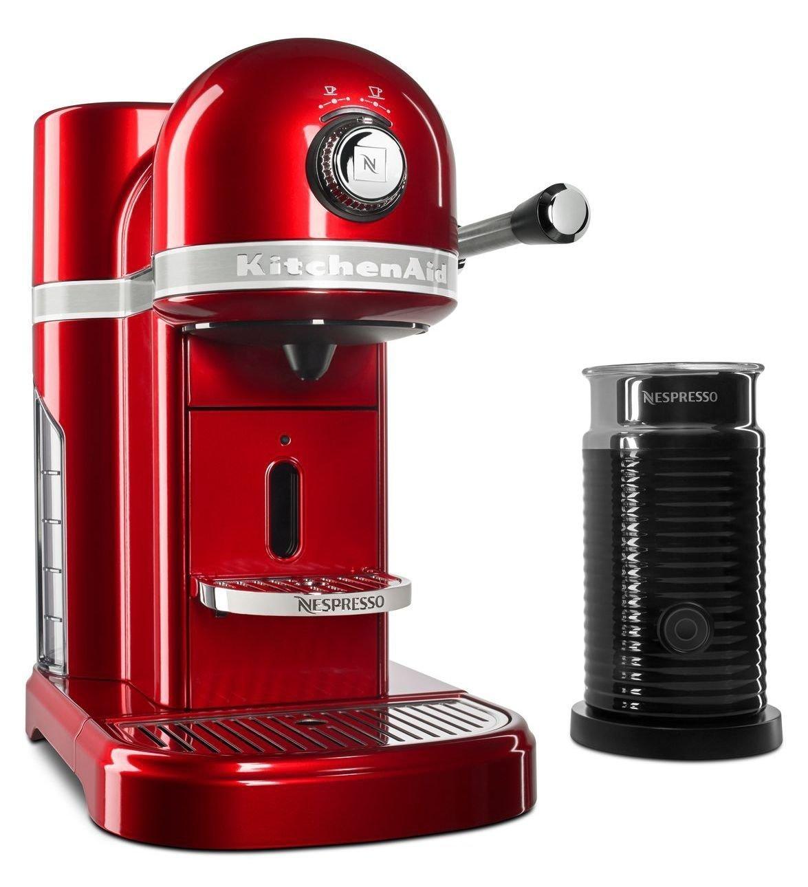 KitchenAid KES0504CA Candy Apple Red Aeroccino Milk Frother Nespresso Espresso Maker, 1.3 L, by KitchenAid