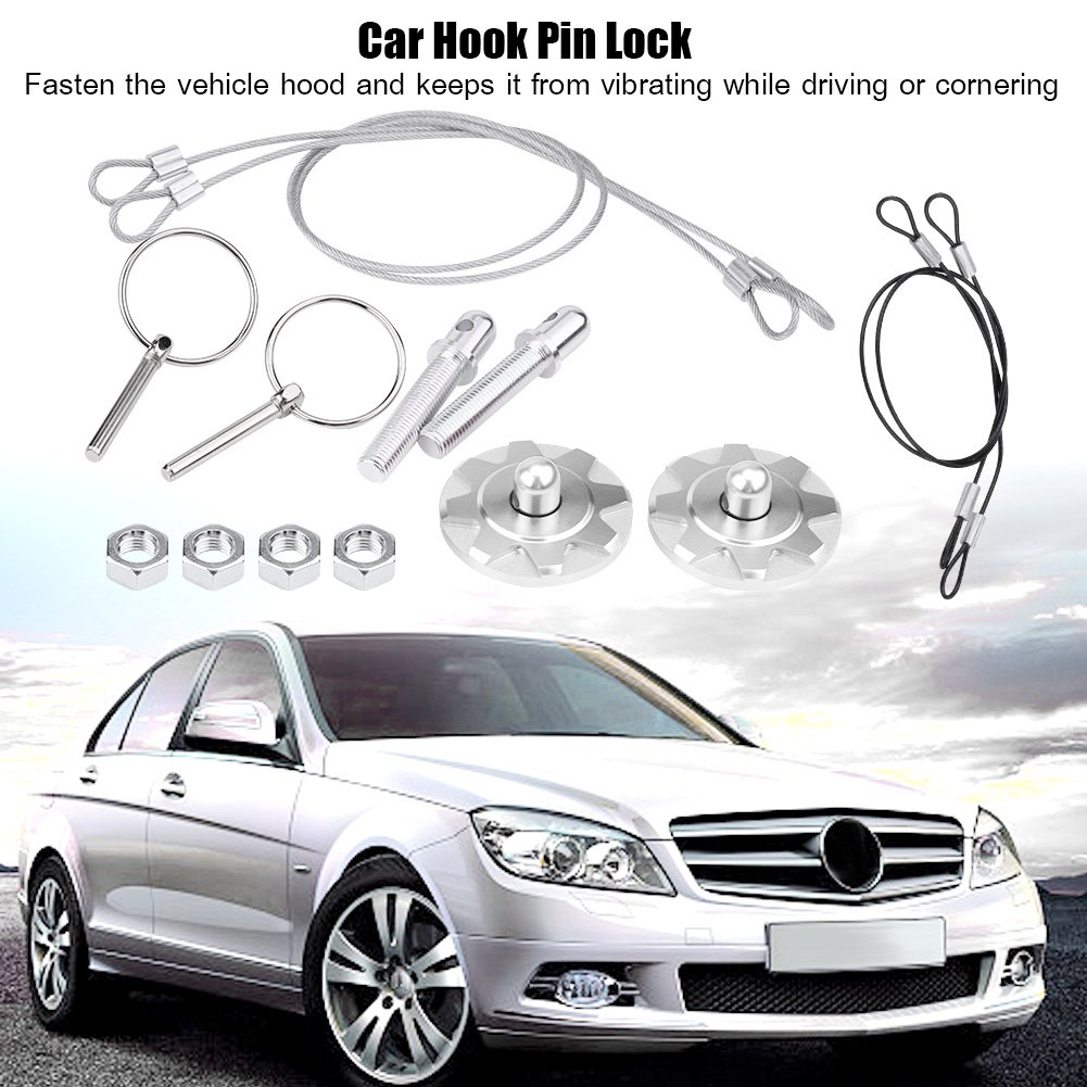 Acouto CNC Aluminum Alloy Car Racing Hood Pin Lock Appearance Kit Universal Black