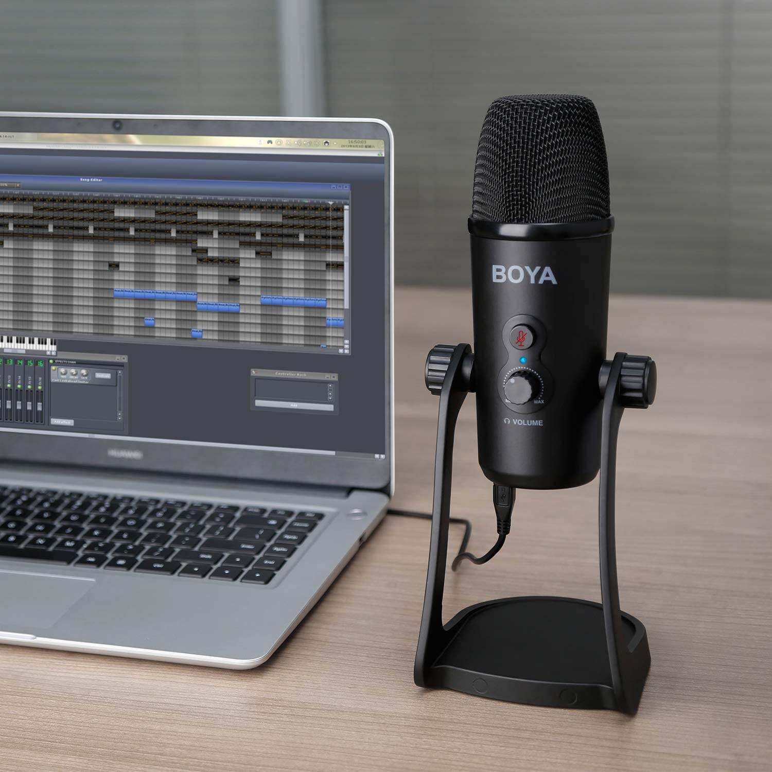 BOYA Table Stand USB Condenser Cardiod Microphone for Windows Mac PC Laptop Recording Broadcasting Live Stream