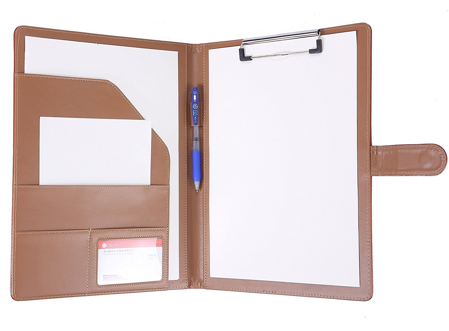 Padfolio Clipboard Folder File Folder With Pocket Faux Leather Clipboard Storage For Letter Size A4 Wring Pad for Business School Office Conference Black
