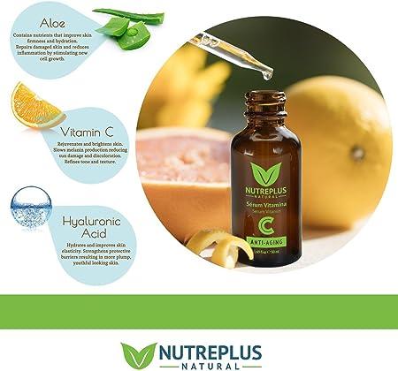 Serum Facial Vitamina C y Acido Hialuronico + Vitamina E   Anti Edad, Anti Arrugas, Anti Manchas   Suero Hidratante, No graso, Tonifica y Reafirma   Natural para una Piel Sana y Joven