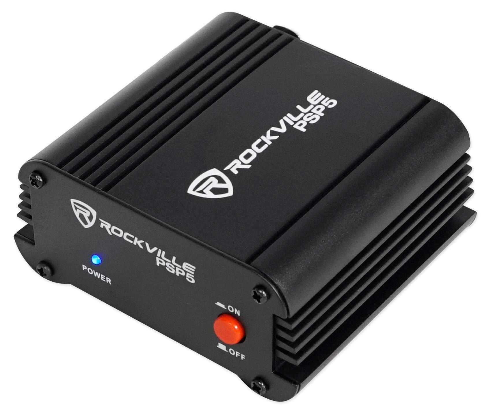 Rockville PSP5 Universal 48V Phantom Power Supply Box For Condenser Microphones