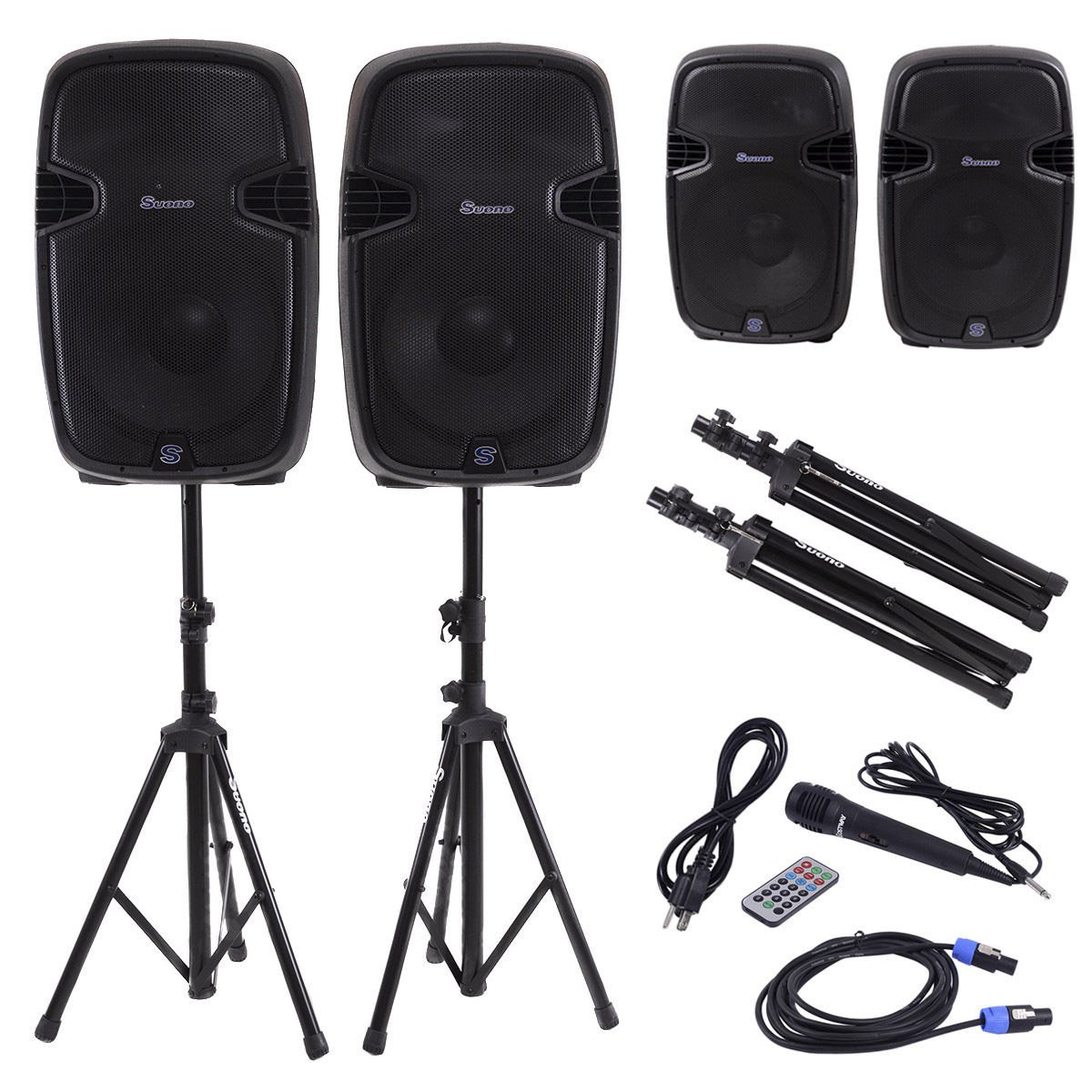 Costway Dual 12 Inch 2-way 2000Watts Powered Speakers with Bluetooth, Mic, Speaker Stands, Control & Cables