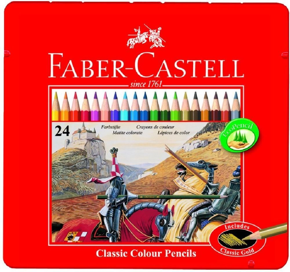 Faber-Castell Classic 24-Colour Pencils in Metal Tin Box: Amazon ...