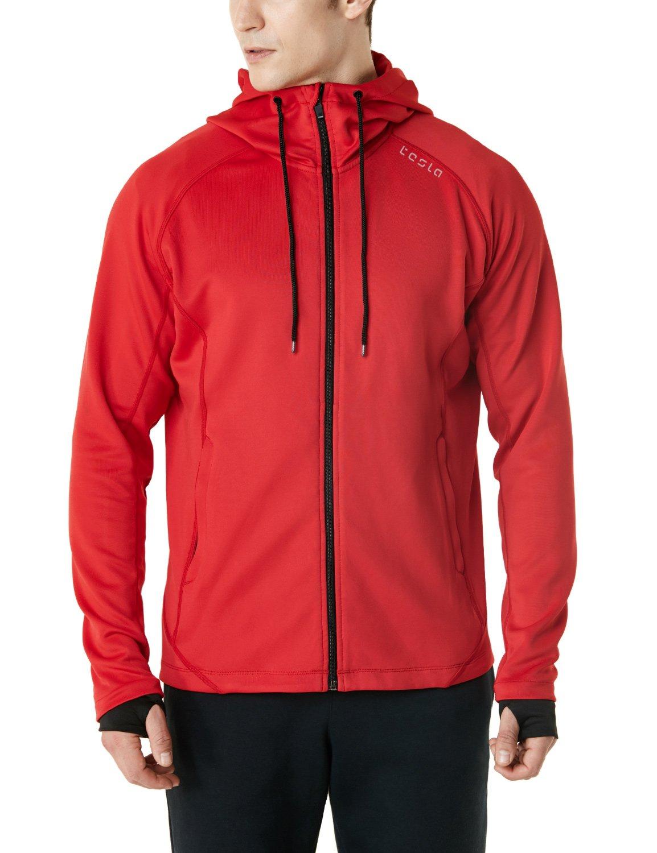 TSLA Men's Performance Active Training Full-Zip Hoodie Jacket, Active Fullzip(mkj03) - Crimson Red, Medium