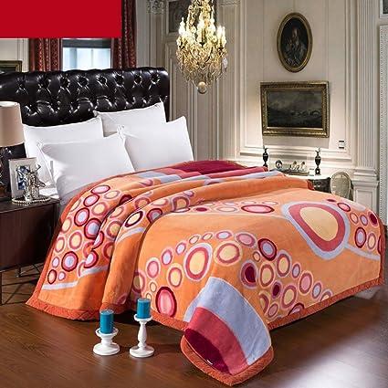 Wddwarmhome Coperta arancione calda Copriletto della camera da letto ...