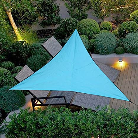 Uni-Wert Toldo Vela de Sombra triángulo Azul, Impermeable Transpirable toldo 3 x 3