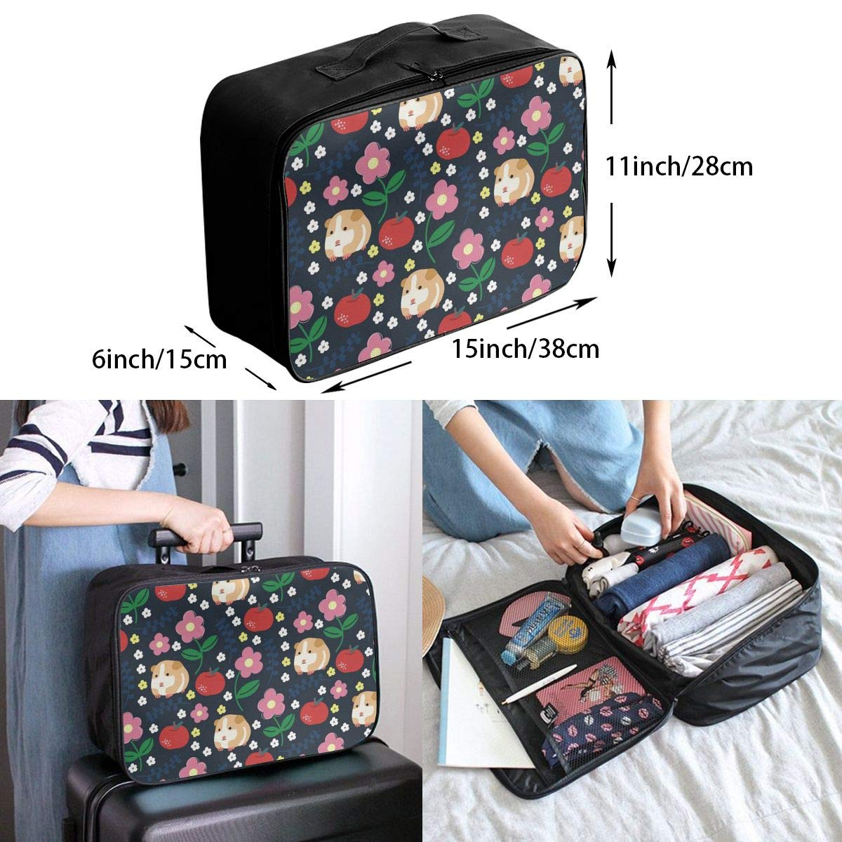 Guinea Pigs And Apples Travel Duffel Bag Waterproof Fashion Lightweight Large Capacity Portable Luggage Bag