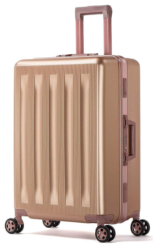 Osonmアルミニウムマグネシウム合金フレーム マット加工 厚 傷が目立ちにくい 耐摩耗 超軽量 スーツケース キャリーバッグ 機内持ち込みスーツケース 預け入れスーツケース TSAロック キャスター5005 B07GMMX7CN S|ローズゴールド ローズゴールド S