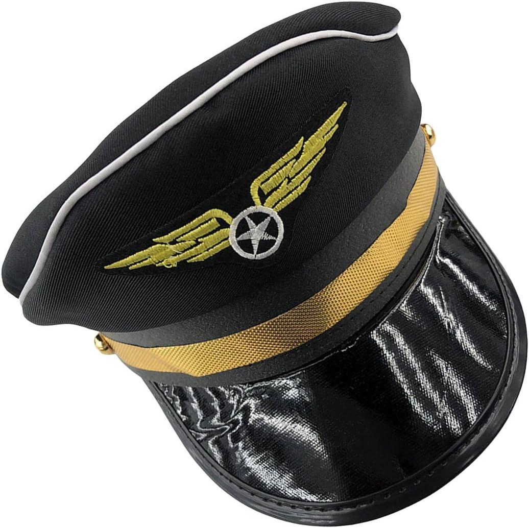 LUOEM Chapeau de Police pour Adultes Police Cosplay Halloween Accessoires de Soir/ée Stage Casquettes Militaires Bleu Marine