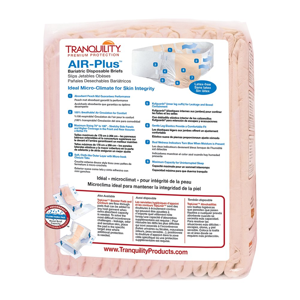 Amazon.com: Tranquility AIR-Plus™ Breathable Bariatric Disposable Briefs - 4XL - 8 ct: Health & Personal Care