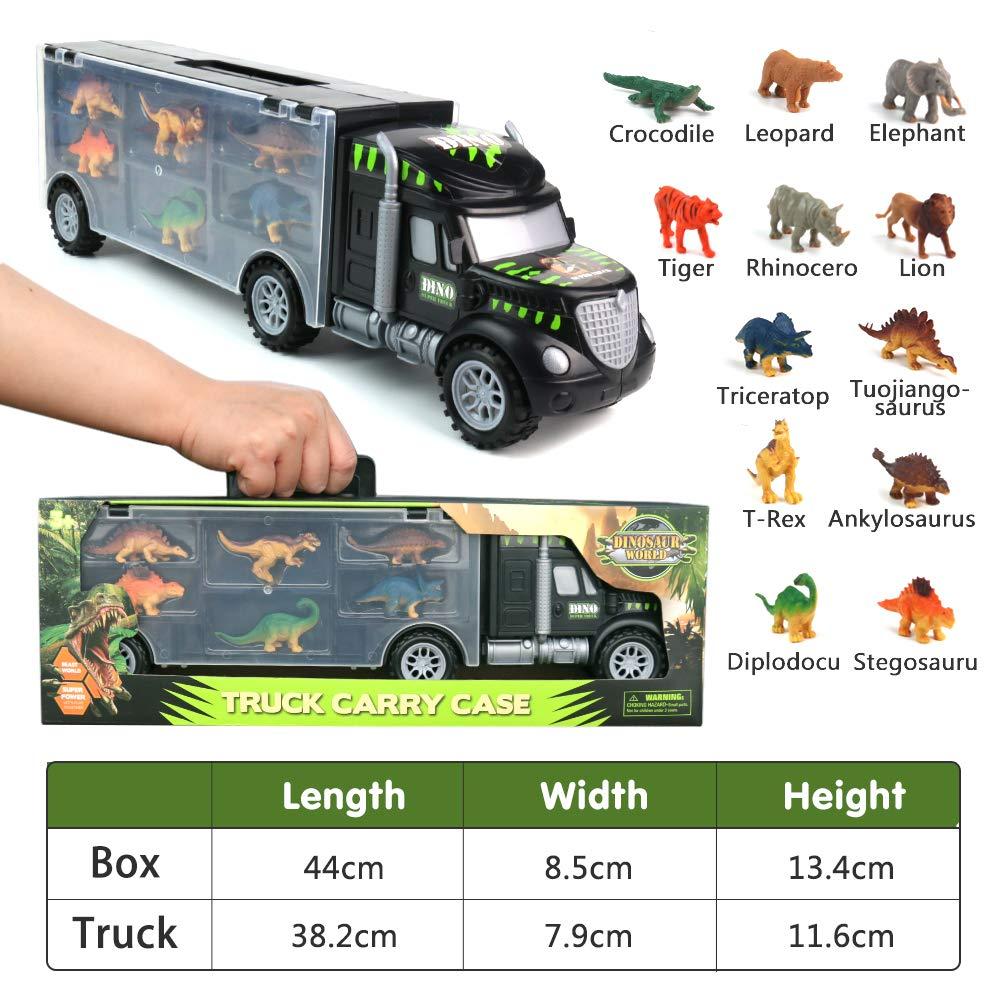 Transportador Coches con 12 Figuras de Juego de Dinosaurios de Dinosaurio Pl/ásticos Educativo Juguete para Ni/ños Pilego Dinosaurio del Juguete Cami/ón de Transporte
