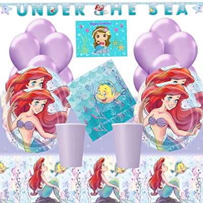 The Little Mermaid Ariel Party Supplies Kit for 16 - Little Mermaid Plates, Table Cover, Napkins, Birthday Banner, Cups, Balloons and Birthday Card by JPMD: Toys & Games