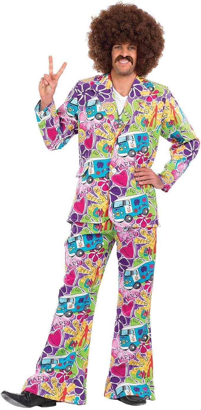 Hommes 1960 S Flower Power Campervan Costume Costume Adulte Hippie Déguisement M L XL