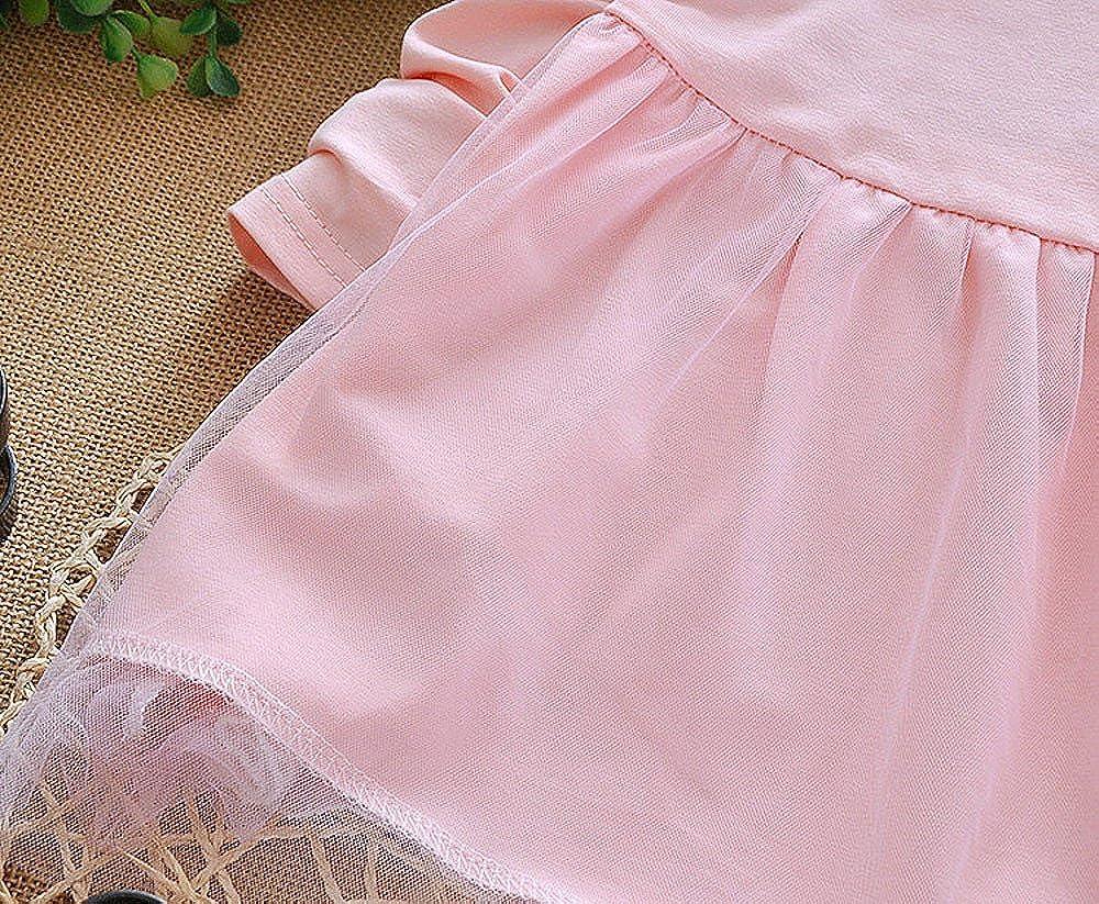 PENATE Kids Baby Girls Dress Bowknot Long Sleeve Lace Princess Party Tutu Dresses