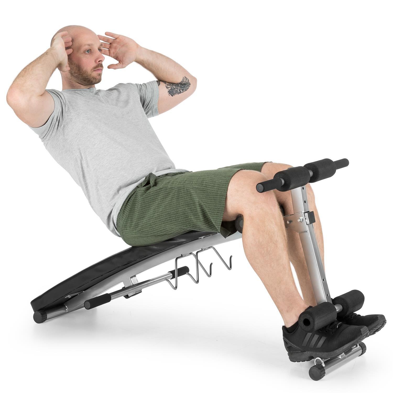 Klarfit Hiup Banco inclinado entrenador abdominal (bandas de expansión integradas, grueso acolchado, plegable, entrenamiento en casa) - negro/rojo: ...
