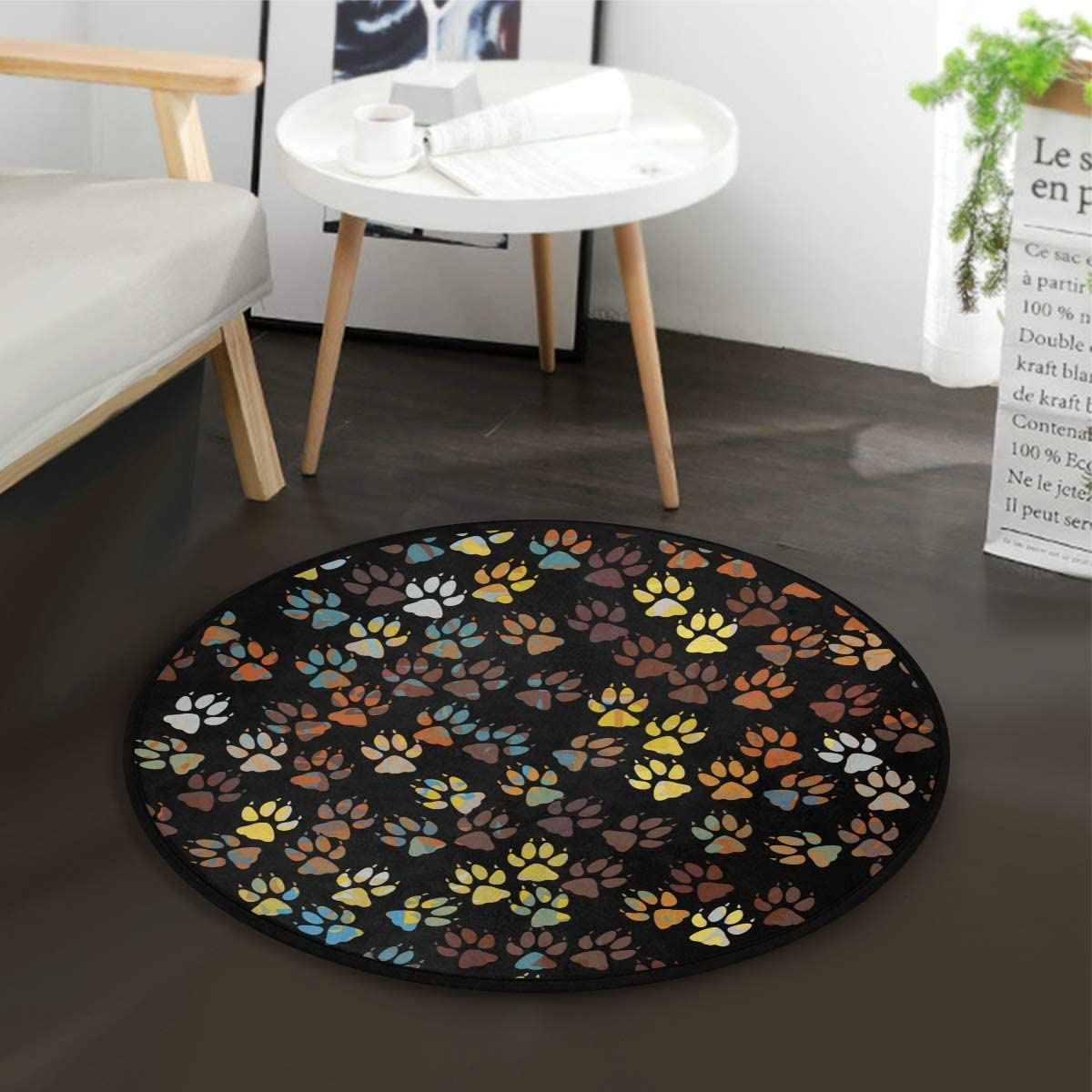 ZZAEO Round Area Rug Soft Comfort Floor Mat Carpet with Non Skid Backing for Home Bedroom Decor – 3 Feet Diameter 92 cm Dog Paw