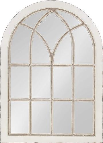 Kate and Laurel NIkoletta Large Classic Wood Windowpane Arch Mirror, 31×44, Distressed Coastal White