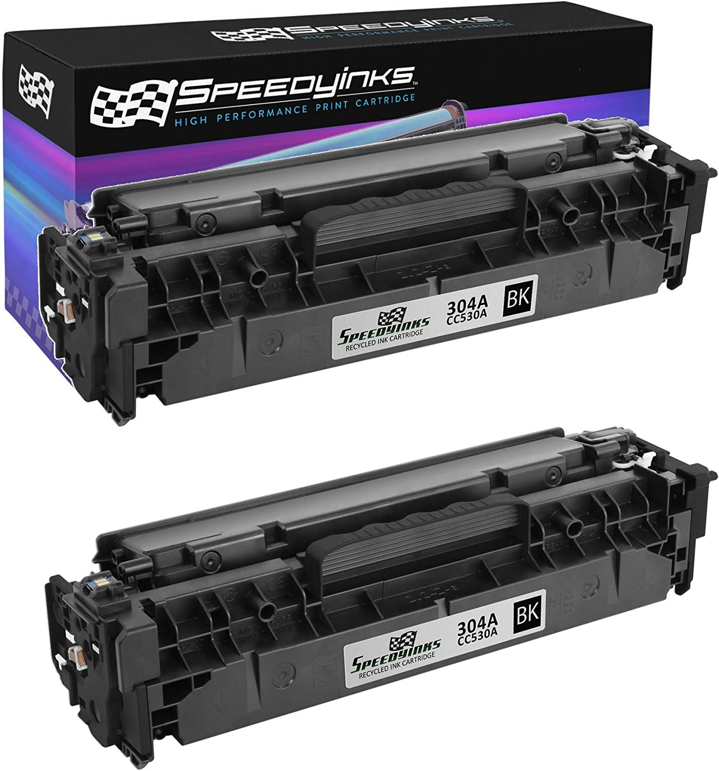 Speedy Inks Remanufactured Toner Cartridge Replacement for HP 304A / CC530A (Black, 2-Pack)