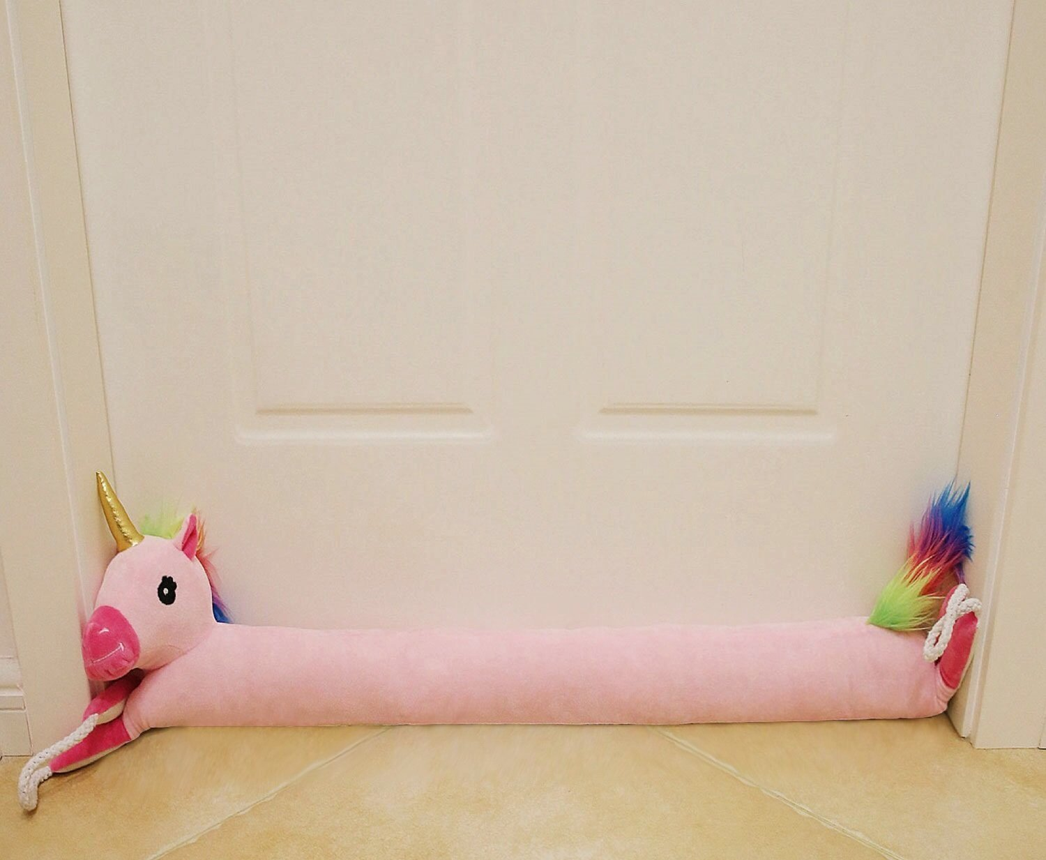 MAXTID 36'' Pink Unicorn Under Door Draft Stopper with Hanging Cord, Block Cold Heat Air and Smell Save Energy & Money | Animal Design