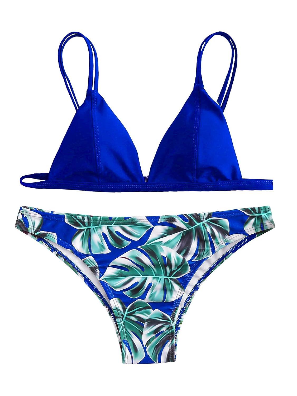 0 bluee SweatyRocks Women's Bikini Swimsuit V Neck Leaves Print Double Straps Swimwear Set