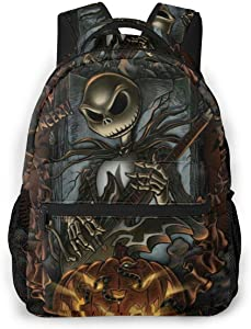 Casual College School Daypack, Big Capacity Backpack for School Outdoors Running, The Nightmare Before Christmas Travel and Sport Backpack Rucksack for Men Women Girls Boys