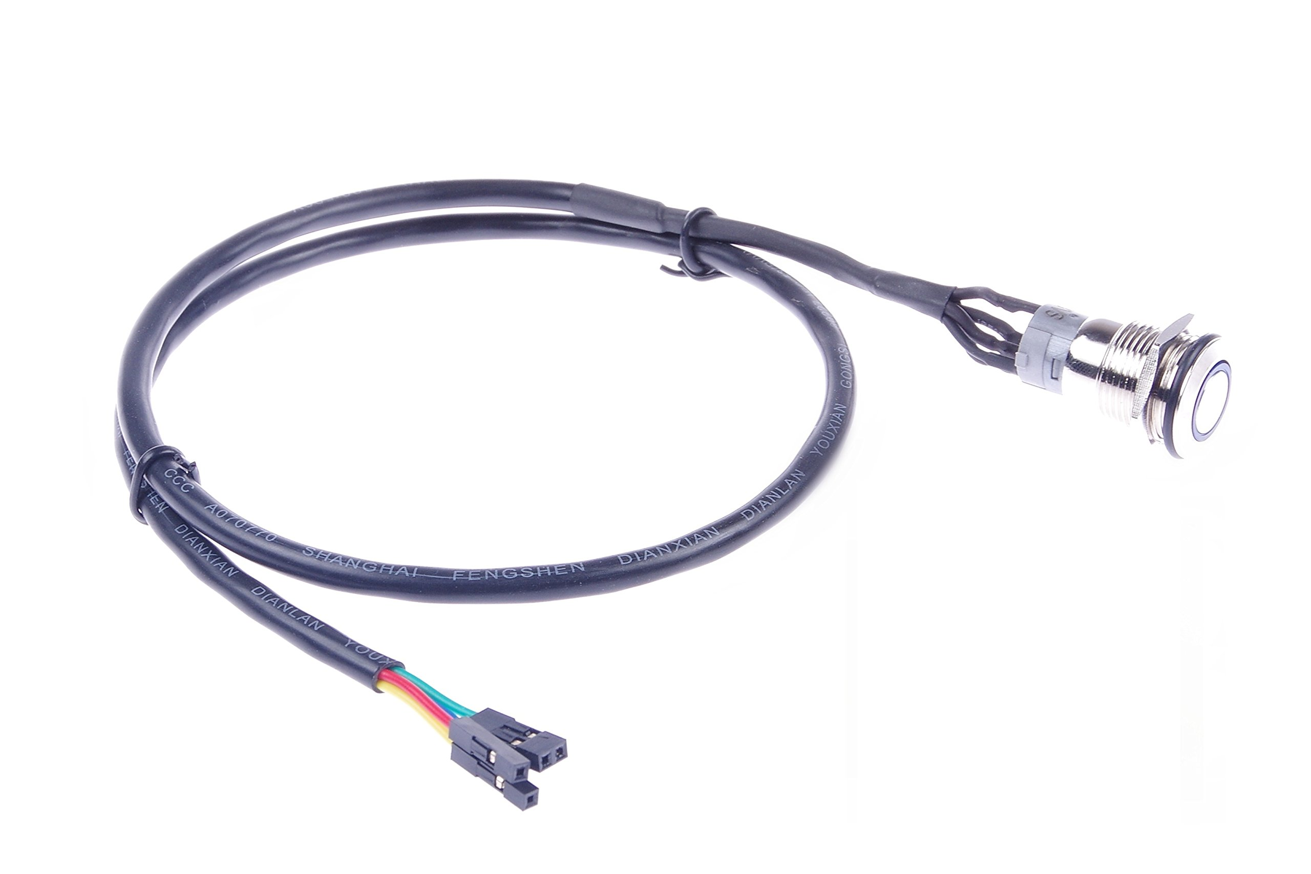 KNACRO 16mm Chassis Switch With 60cm/23.6in Cable Blue LED Ring For DIY computer switch and restart button (Blue Ring)