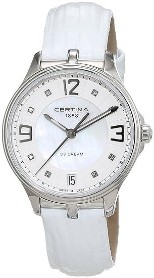 Certina - Reloj Analógico de Cuarzo para Mujer, correa de Cuero color Blanco