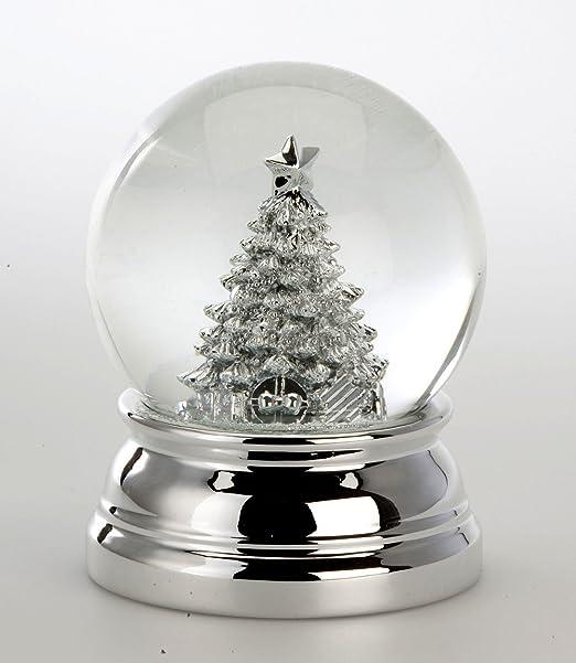 Exclusivo bola de nieve con árbol de Navidad - plateado -{10} cm - peso 460 G: Amazon.es: Hogar
