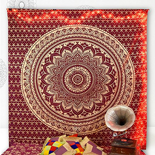 Traditional Maroon Gold Passion Ombre Mandala Cotton King Size