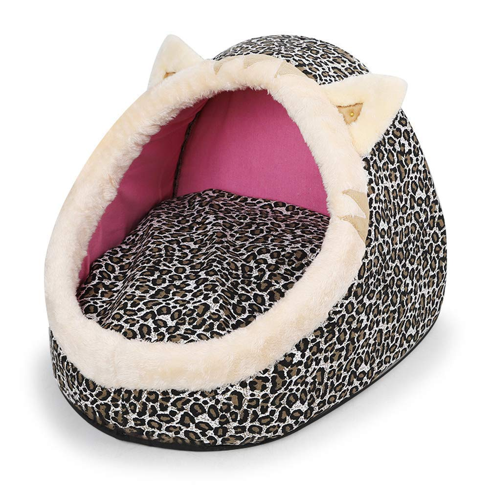 Leopard L Leopard L Cute Pet Dog House Bed Cat Basket Dog Kennel Pets Cushion for Small Dog Puppy Cats 42x40x32cm (Leopard, L)
