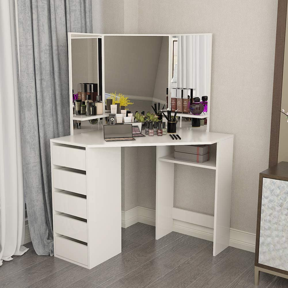 Dressing Makeup Table, White Vanity Desk Bedroom Corner Furniture Modern Wooden Dresser with Three-Fold Mirrors and 5 Drawers for Female Women Girls