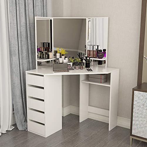 Corner Vanity Table White Makeup Desk with Three-Fold Mirror and 5 Drawers Wooden Bedroom Dressing Table