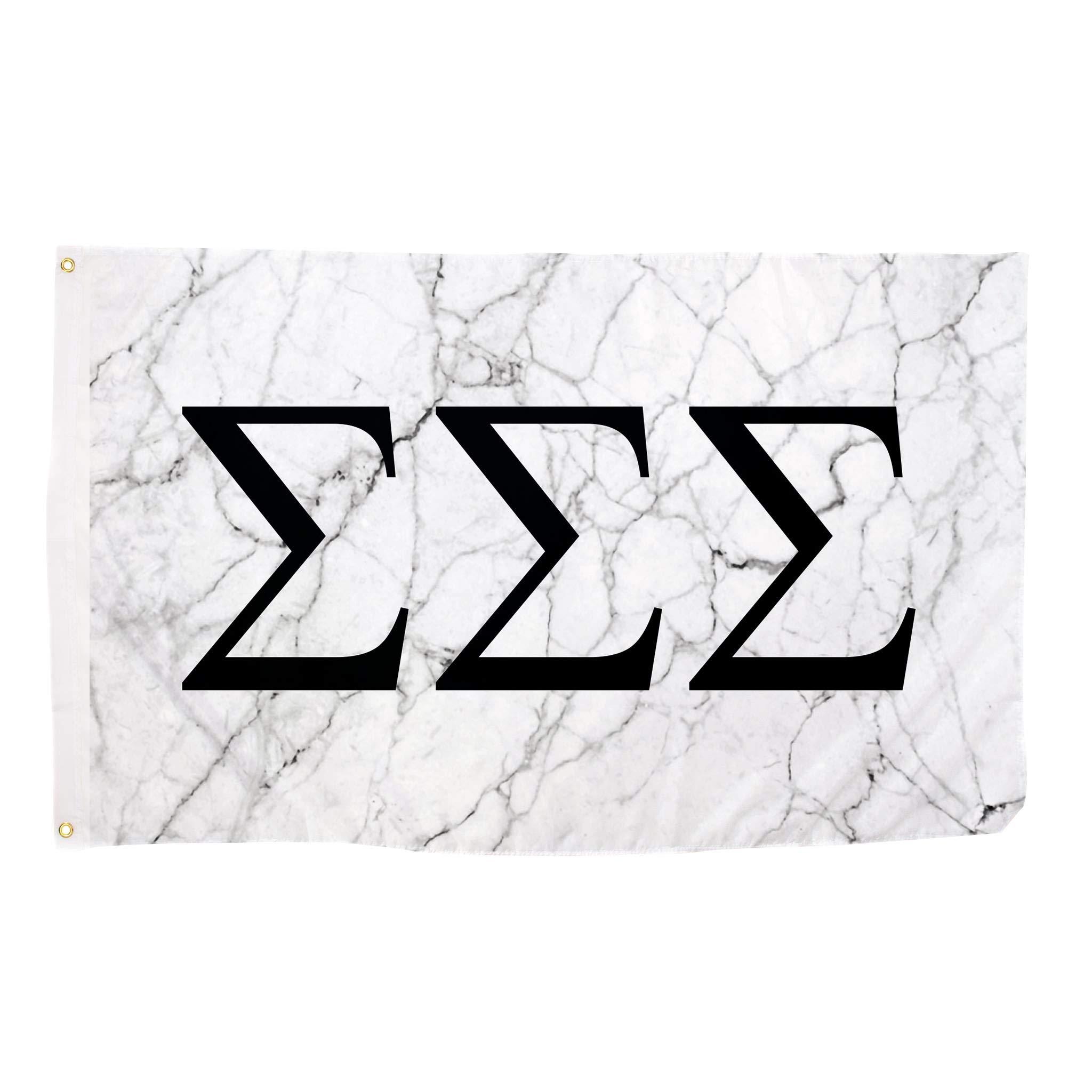 Sigma Sigma Sigma Light Marble Sorority Letter Flag Banner 3 x 5 Sign Decor Tri-Sig