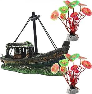 Magicwolf Aquarium Shipwreck Decorations Set Ornaments for Fish Tank Decorations