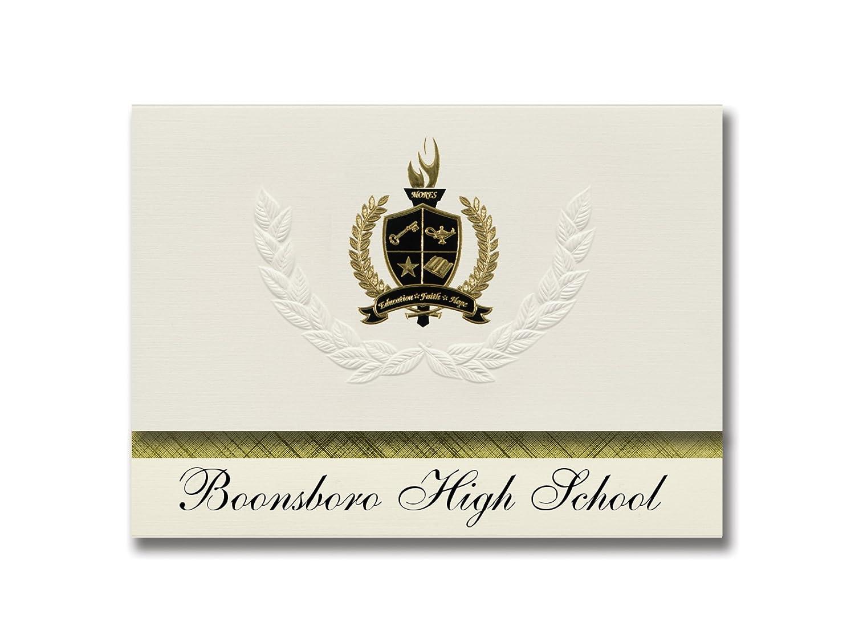 Signature Ankündigungen boonsbGold High School (boonsbGold, MD) Graduation Ankündigungen, Presidential Stil, Elite Paket 25 Stück mit Gold & Schwarz Metallic Folie Dichtung