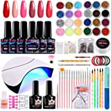 Morovan Acrylic Nail kit for beginners,with Shinny Glitter and Sequins, 6 Colors Gel Nail Polish and 36W LED Nail Lamp…