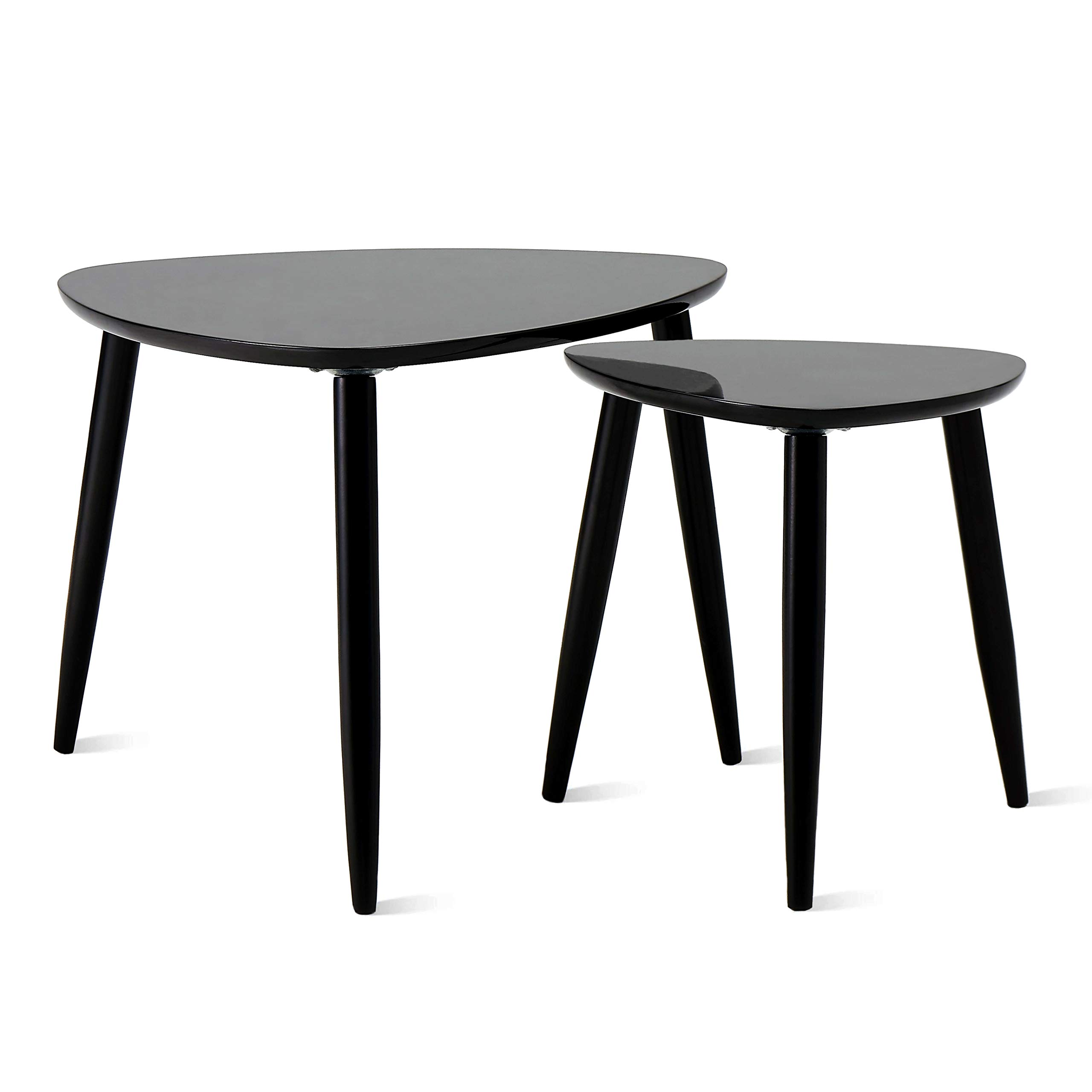 TaoHFE Nesting Table Coffee Tables for Living Room End Side Tables Sturdy and Environmental Material Durable Triangle Nesting Table Set (Set of 2, Black) by TaoHFE