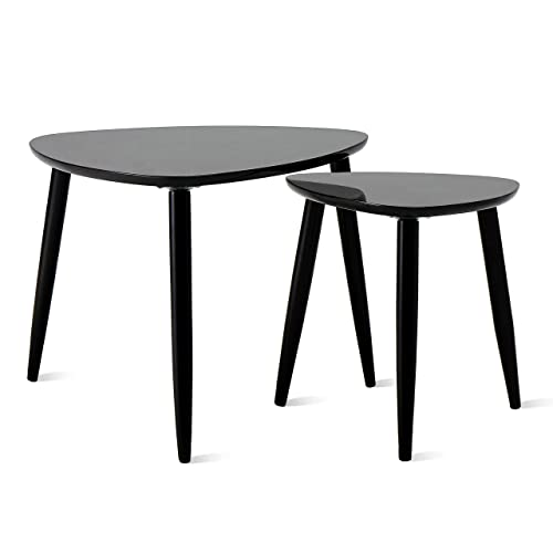 TaoHFE Nesting Table Coffee Tables for Living Room End Side Tables Sturdy and Environmental Material Durable Triangle Nesting Table Set Set of 2, Black