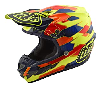 Casco Mx Troy Lee Designs 2018 Se4 Maze Composite Amarillo-Azul (S , Amarillo