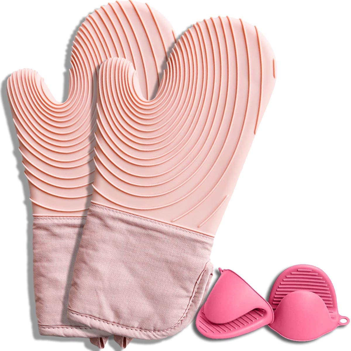 Oven Mitts and Pot Holder,Profession Extra Long Silicone Oven Mitt,Instant Heat Resistance 575℉ with Two Pinch Hand Clips,Food Safe Waterproof Oven Mitts,Inner Cotton Layer for Cooking,Baking (Pink)