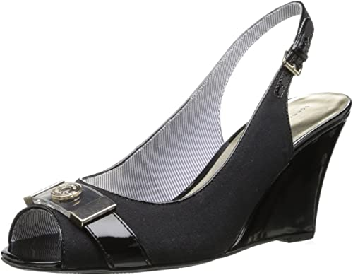 Women/'s Shoes Tommy Hilfiger VERONIQU Slingback Peep Toe Wedge Sandals Black