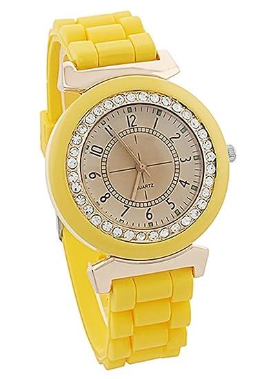 Reloj - Geneva Silicona Piedra de Cristal Cuarzo Reloj de pulsera de mujer (Amarillo)