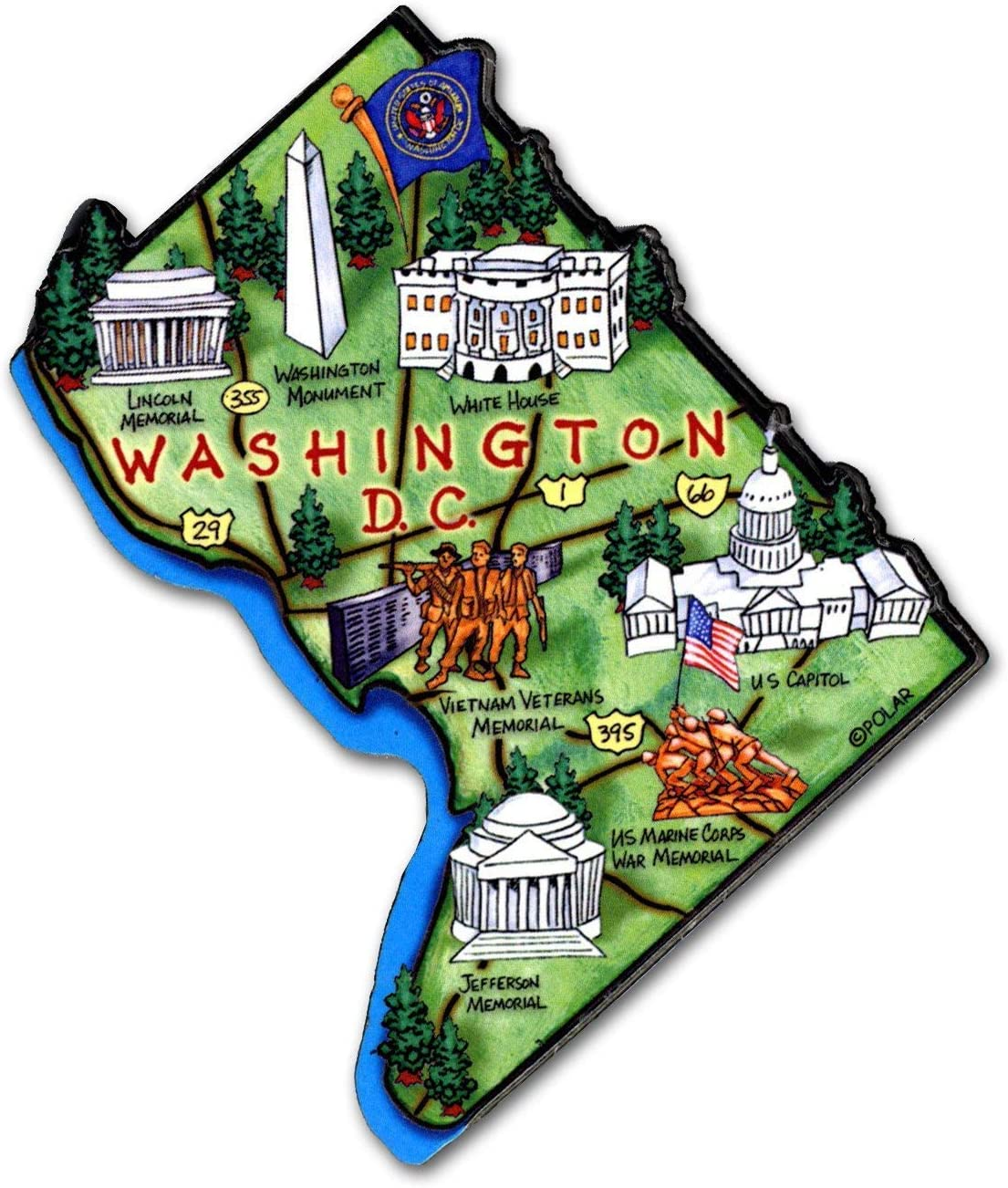 Washington D.C. Decowood Jumbo Wood Fridge Magnet 3.5