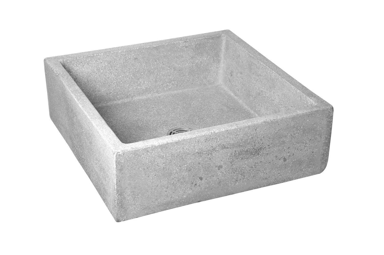 Crane TSB600501 White Marble/White Cement Commercial Plain Curbs Mop Service Basin TSB600