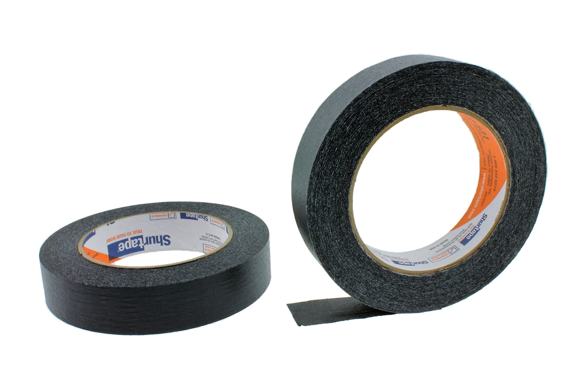 2pk of 1'' in x 60yd Black Masking Tape Extra Sticky PRO Grade High Stick Special Project Painters Tape Painting Trim Arts Crafts School Home Office 21 Days 24MM x 55M .94 inch
