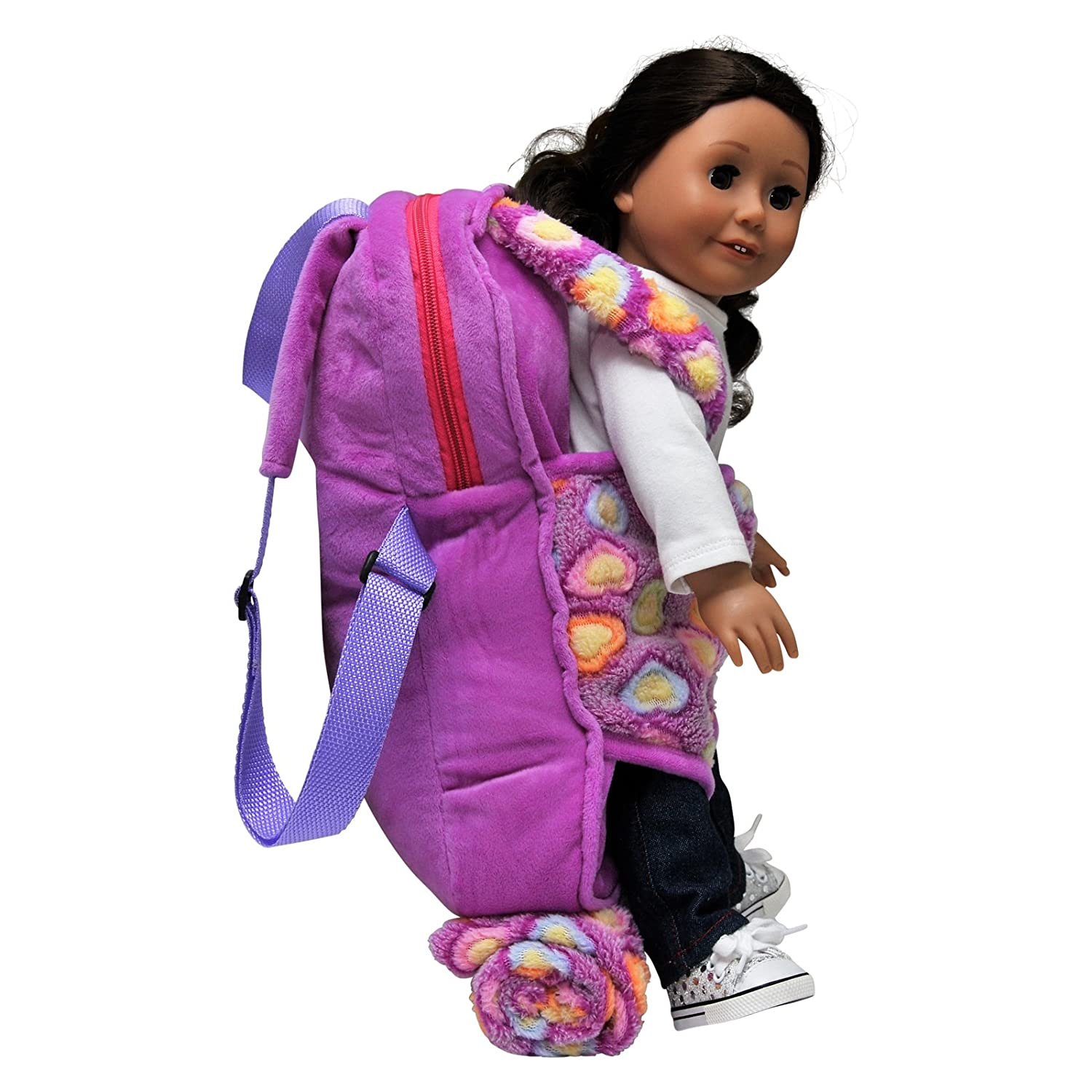 2e495357e07 Amazon.com  The Queen s Treasures Purple Soft Fancy Baby Doll Backpack  Carrier and Sleeping Bag for 18 inch and 15 inch Dolls.