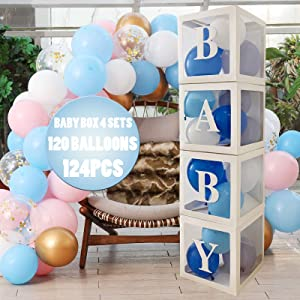 Baby Shower Boxes Party Decorations, 4 pcs Transparent Balloons Boxes Decor with Letters, 120 Balloons Sets BABY Blocks Design for Boys Girls, Baby Shower Decoration Gender Reveal Bridal Showers Birthday Party Backdrop